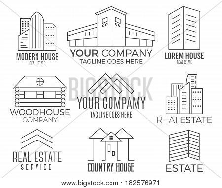 Set of house logo designs, real estate icon suitable for info graphics, websites and print media. , flat icon, badges, labels, clip art. Lineart style. Thin line design.