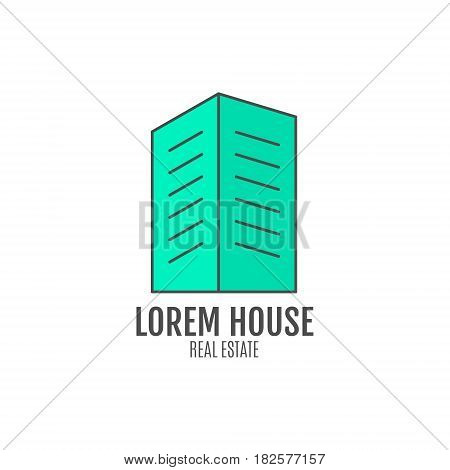 house logo design, real estate icon suitable for info graphics, websites and print media. , flat icon, badge, label, clip art. Lineart style. Thin line design. Stylysh palette.