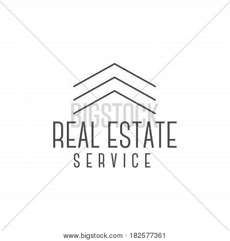 real estate logo design, realtor icon suitable for info graphics, websites and print media. , flat icon, badge, label, clip art. Lineart style. Elegant Thin line design. Monochrome.