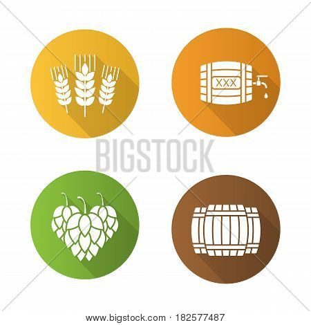 Beer flat design long shadow icons set. Alcohol wooden barrels, hop cones, wheat ears, rum or whiskey barrel with tap, drop and xxx sign. Vector silhouette symbols