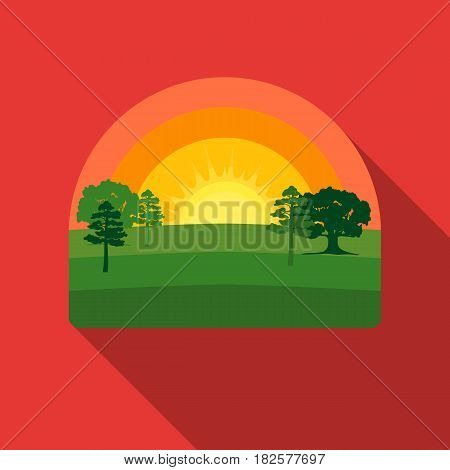 Sunrise icon in flate style isolated on white background. Weather symbol vector illustration.