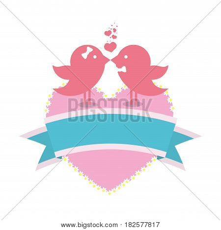 bird couple married card with heart and ribbon decoration vector illustration eps 10