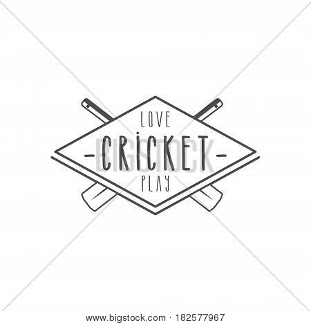 Cricket club emblem and design elements. team logo . line stamp. Sports symbols with gear, equipment. Use for web , tee or print on t-shirt. Monochrome.