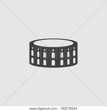 Coliseum icon in a flat design in black color. Vector illustration eps10