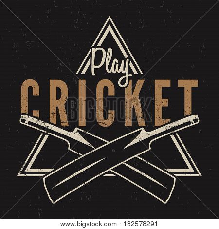 Retro cricket emblem design. Cricket logo icon design. Cricket badge. Sports logo symbols with cricket gear, equipment. Cricket tee design. Tee shirt emblem. T-Shirt prints retro style. .
