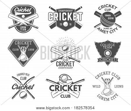 Set of cricket sports logo designs. Cricket icons set. Cricket emblems design elements. Sporting tee designs. Cricket club badges. Sports symbols with cricket gear equipment for web or t-shirt