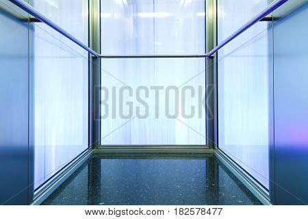 Promising endless frame of metal and glass with motion blur in the Windows