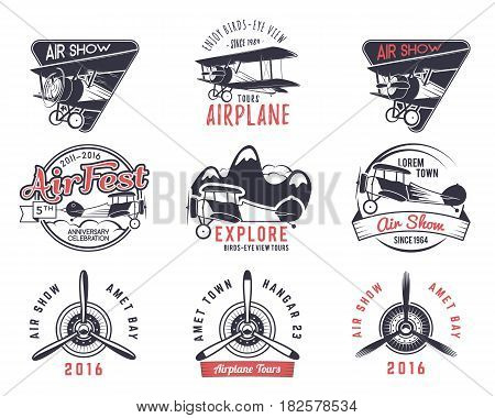 old fly stamps. Travel or business airplane tour emblems. Biplane academy labels. Retro aerial badges isolated. Pilot school logo. Plane tee and t-shirt design for print, webdesign. Propeller