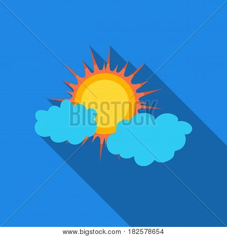 Cloudy weather icon in flate style isolated on white background. Weather symbol vector illustration.