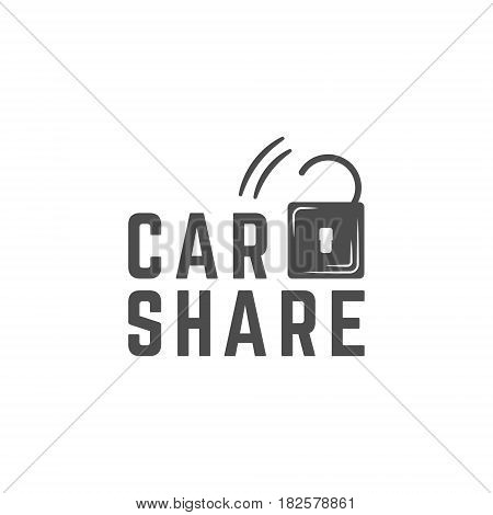 Car share logo design. Car Sharing concept. Use for webdesign or print. Monochrome design.
