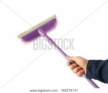Hand of male window cleaner with mop on white background
