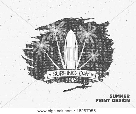 Surfing day label graphic elements. Tropical typography emblem on watercolor monochrome background. Surfer party poster with surf symbols - palms. For web design or tee design print, t-shirt.