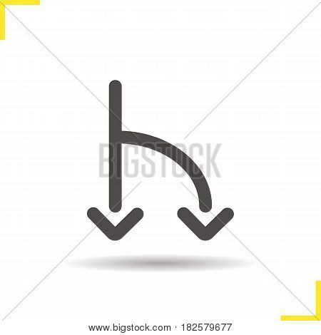 Road fork linear icon. Thin line illustration. Two arrows contour symbol. Vector isolated outline drawing
