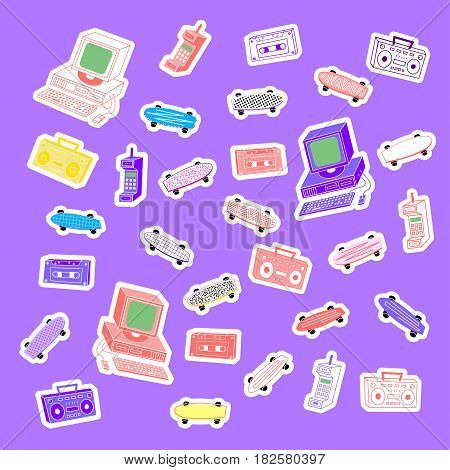 Sets 80's 90's stickers computers, phones, cassettes, tape recorders, skateboards