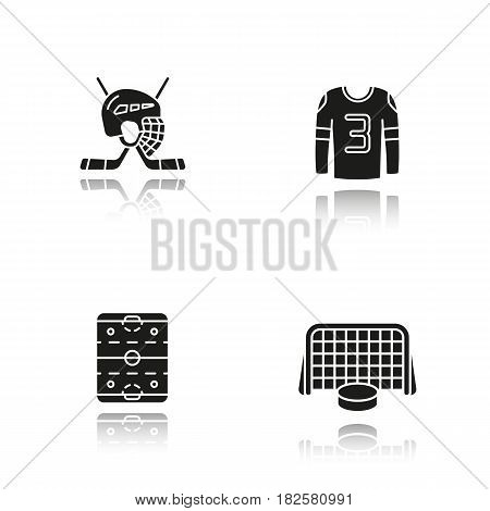 Hockey drop shadow black icons set. Sticks and helmet, rink, shirt, puck in gates. Isolated vector illustrations