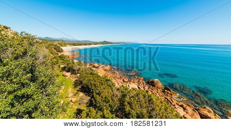 Panoramic view of Su Sirboni beach Sardinia