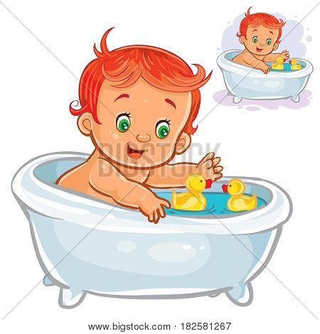 Vector C of small child take a bath with a rubber ducky isolated on white