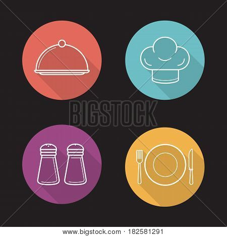 Restaurant kitchen items. Flat linear long shadow icons set. Salt and pepper shakers, chef's hat, covered dish, fork, plate and table knife. Vector line illustration
