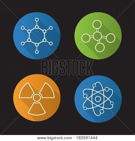 Chemistry and physics. Flat linear long shadow icons set. Atom, molecule and radioactive caution symbols. Radiation sign. Vector line illustration