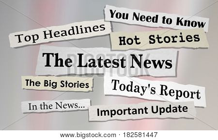 The Latest News Headlines Information Updates 3d Illustration