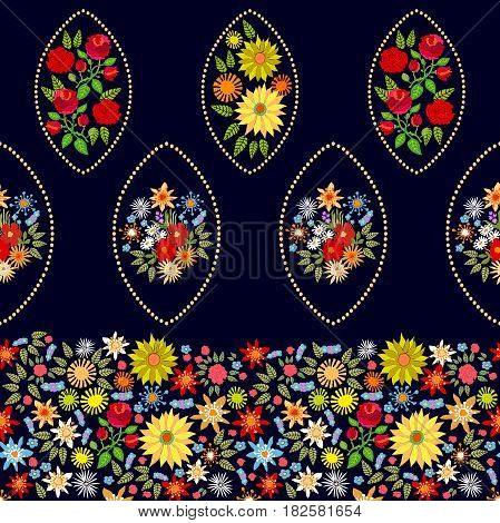 Damask print with sunflowers, roses and wildflowers on black background. Retro textile collection.