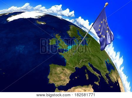 European Union flag marking the location of Europe on world map. 3D rendering, parts of this image furnished by NASA