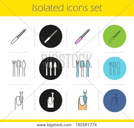 Manicure equipment icons set. Linear, black and color styles. Nail file and polishing, cuticle pusher, trimmer and exfoliator. Isolated vector illustrations