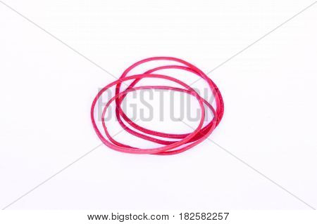 Red rubber Circle elastic on white background