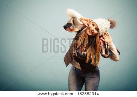 Cute Young Woman Wearing Cap.