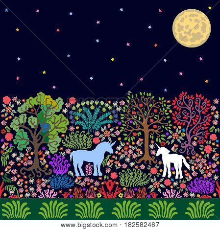 Magic forest with unicorns, trees, bushes and flowers. Detailed vector illustration for wall painting, textile design and books.