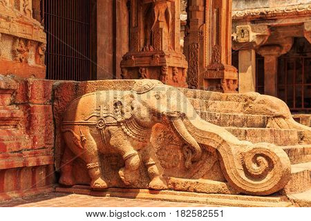 Carved Walls Of The Indian Temple.