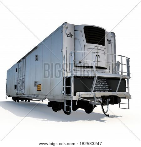 Railroad Refrigerator Car on white background. 3D illustration