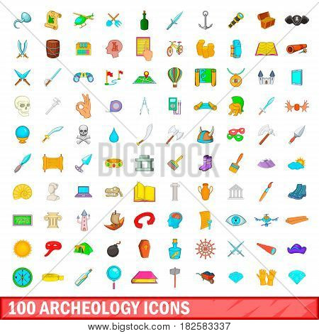 100 archeology icons set in cartoon style for any design vector illustration