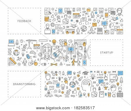 Vector line concept for feedback. Linear banner for startup. Modern background for brainstorming.