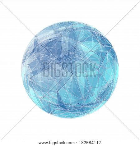Abstract geometric shape with spherical severed off triangular faces.
