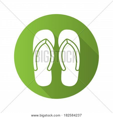 Flip flops flat design long shadow icon. Summer slippers. Vector silhouette symbol