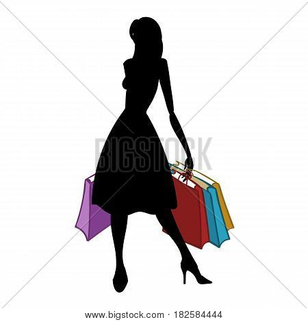 Silhouette of fashionable woman with different colored shopping bags on white background. Shopper. Sales. Vector illustration.