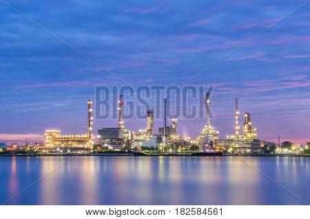 Oil refinery factory at dawn Oil refinery - Bangkok Thailand
