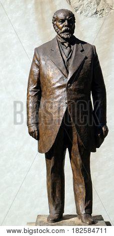 TIRANA, ALBANIA - SEPTEMBER 29: Statue of Ismail Qemal Bej Vlora in Tirana, Albania on September 29, 2016.