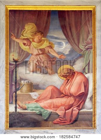 ROME, ITALY - SEPTEMBER 05: The fresco with the image of the life of St. Paul: The Vision of the Macedonian, basilica of Saint Paul Outside the Walls, Rome, Italy on September 05, 2016.