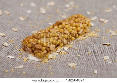 Cereal Bars Of Granola With Apples, Nuts And Honey. Fitness Bar, Cereal, Wallpaper, Background.