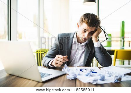 Accountant Businessman Working With Documents In Office Having A Stress.