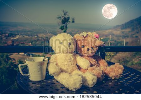 Vintage tone image of two beautiful doll sitting on table with a cup of coffee full moon on nature background. Concept teddy bears couple with love for valentine day. Greeting or gift card design.