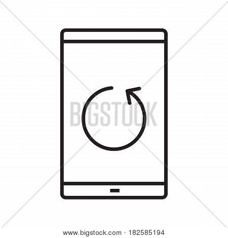 Smartphone reload button linear icon. Thin line illustration. Smart phone restarting contour symbol. Vector isolated outline drawing