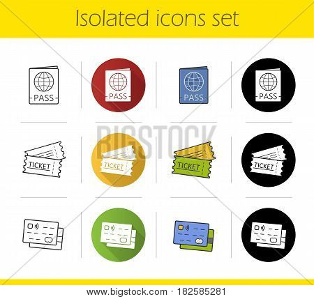 Travel documents icons set. Flat design, linear, black and color styles. Passport, tickets, id and credit cards. Isolated vector illustrations