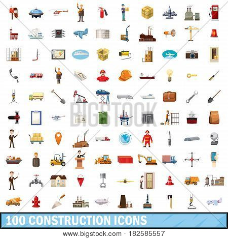 100 construction icons set in cartoon style for any design vector illustration