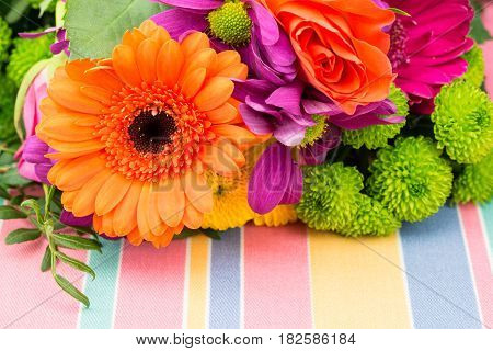 Orange Gerbera With Fresh Florist Flowers. Copy Space.
