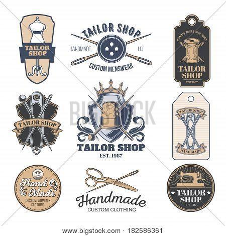 Set of vintage tailor emblem and signage
