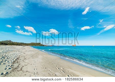 white clouds over Cea beach in Sardinia