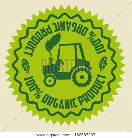organic product guaranteed seal vector illustration design